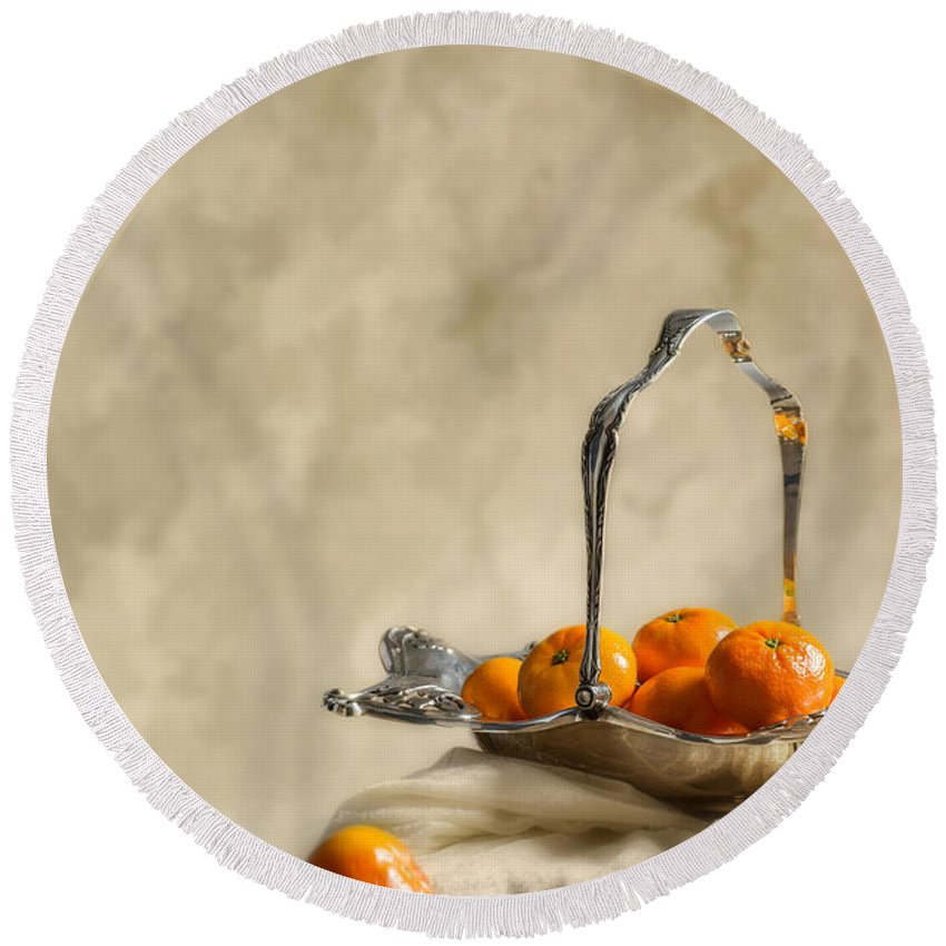 Antique Round Beach Towel featuring the photograph Falling Oranges by Amanda Elwell