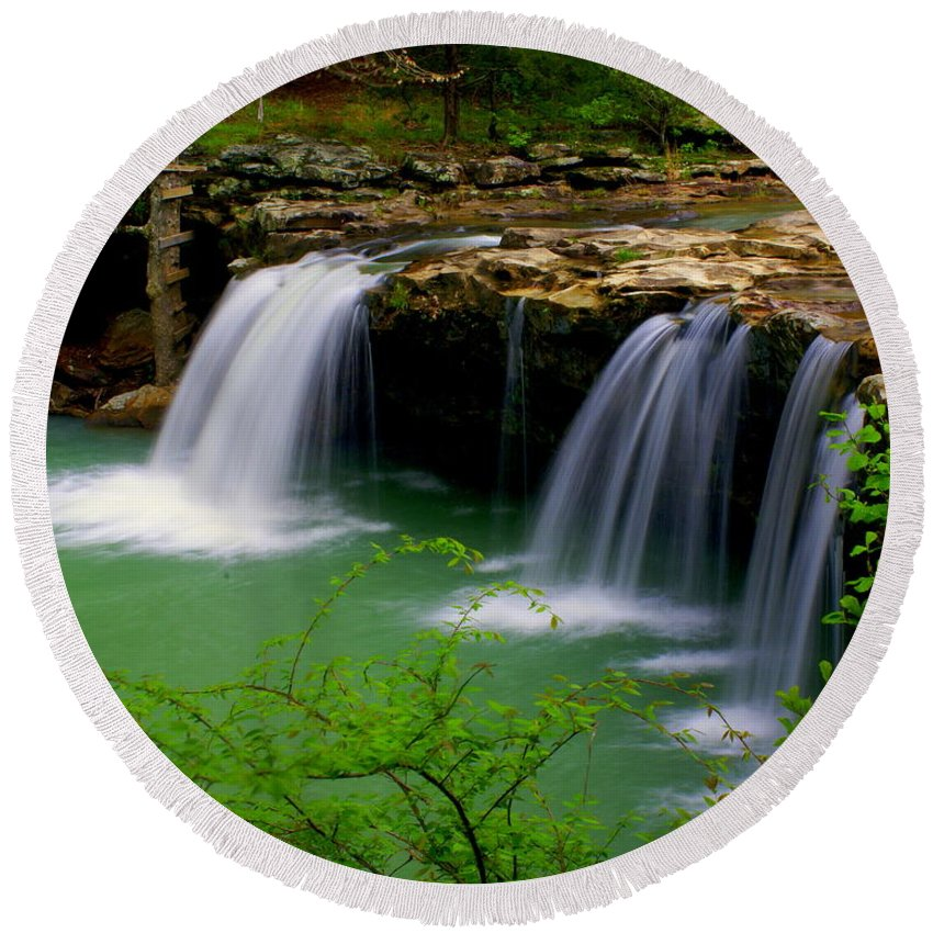 Waterfalls Round Beach Towel featuring the photograph Falling Water Falls by Marty Koch