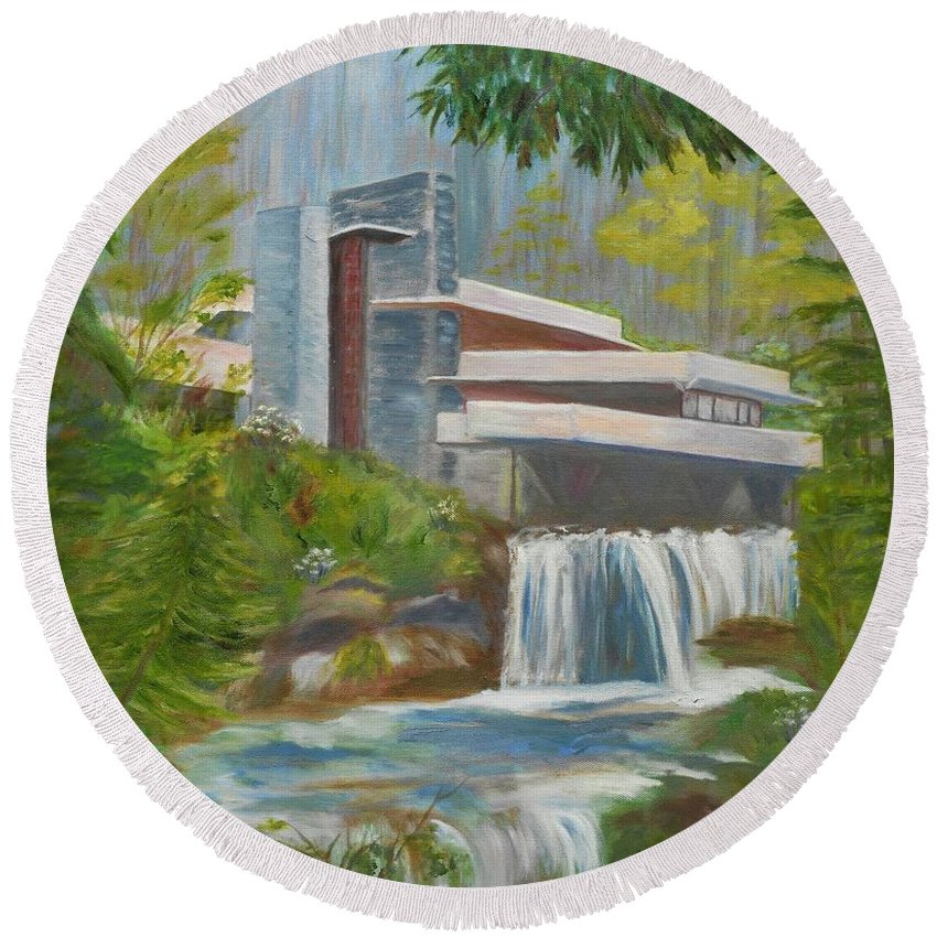 Frank Lloyd Wright Round Beach Towel featuring the painting Falling Water by Jamie Frier