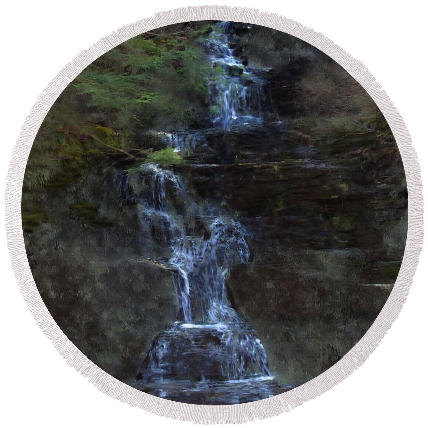 Round Beach Towel featuring the photograph Falls At 6 Mile Creek Ithaca N.y. by David Lane