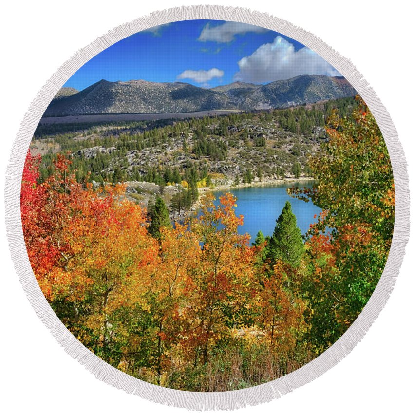 Aspens Round Beach Towel featuring the photograph Fall's Finery At Rock Creek Lake by Lynn Bauer