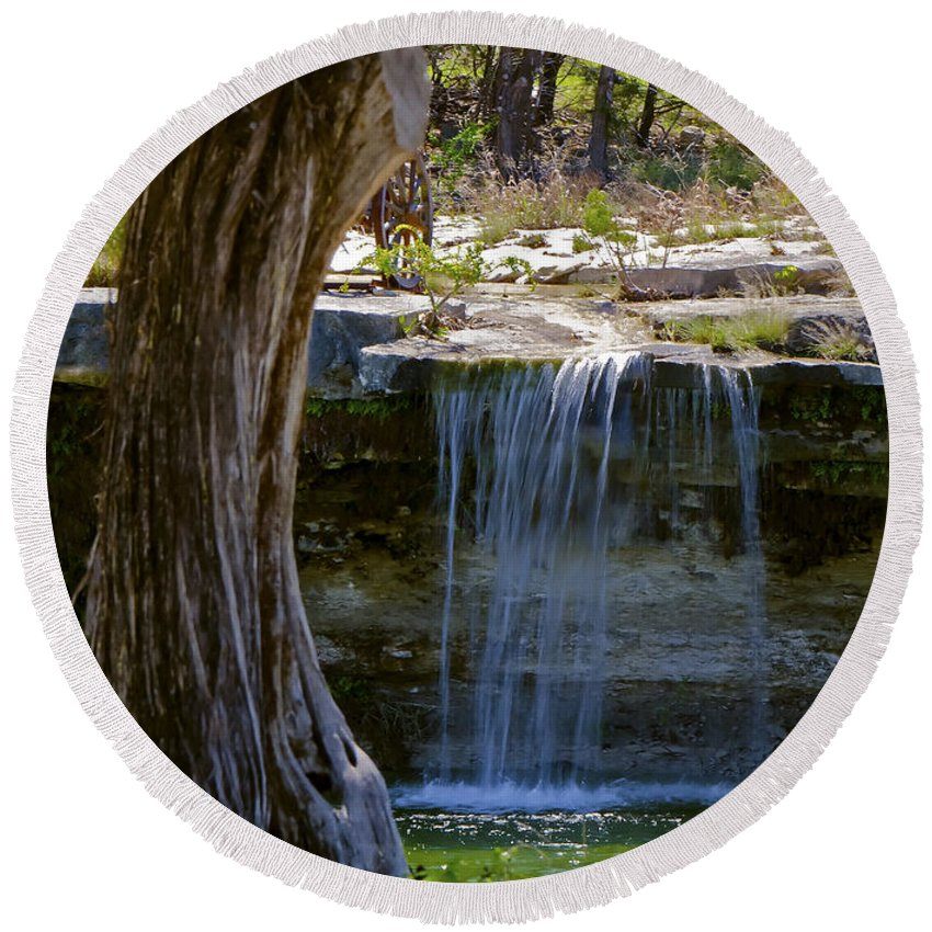 Falls Into Cow Creek Round Beach Towel featuring the photograph Falls Into Cow Creek by Greg Reed
