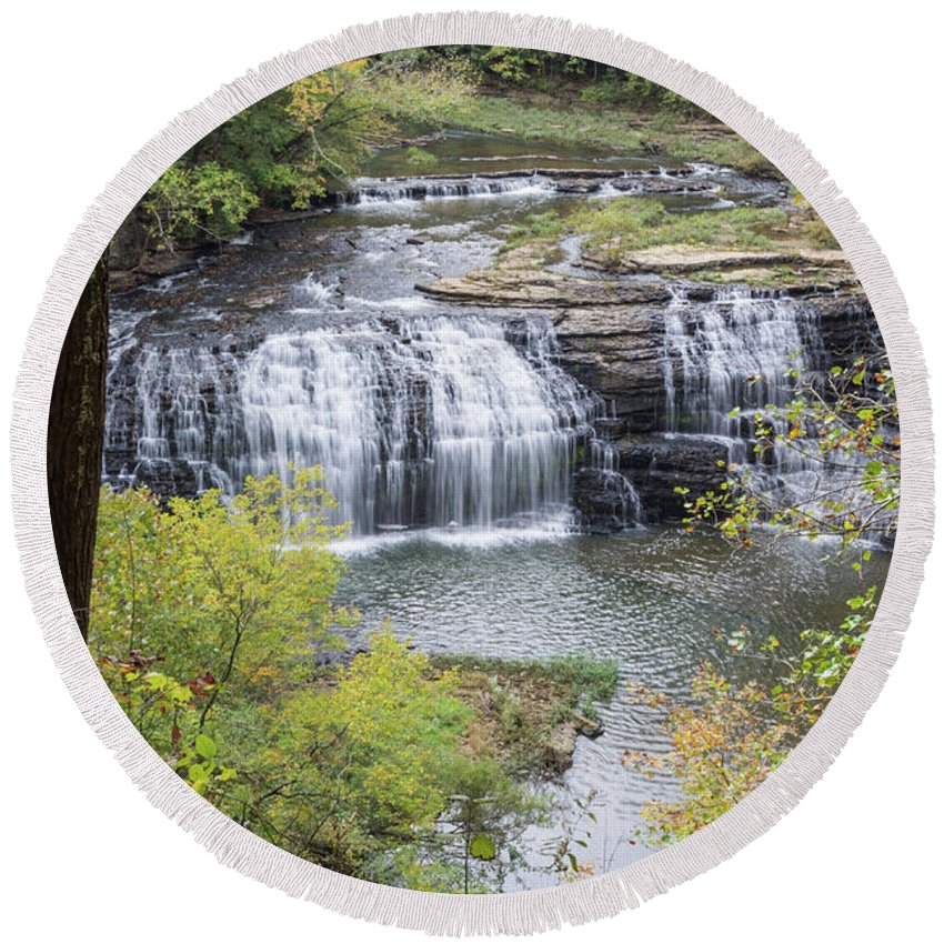 Burgess Falls Round Beach Towel featuring the photograph Falls Through The Trees by John Benedict