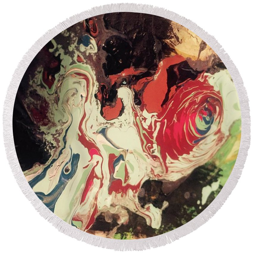 Abstract Round Beach Towel featuring the painting Fames Whore by Edward Paul