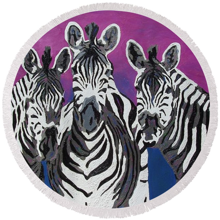 Zebras Round Beach Towel featuring the painting Family by Amy Pugh