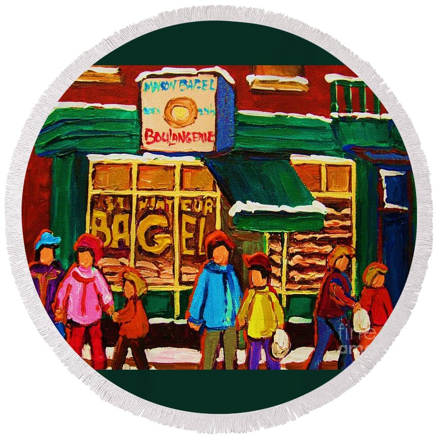 St.viateur Bagel Round Beach Towel featuring the painting Family Fun At St. Viateur Bagel by Carole Spandau