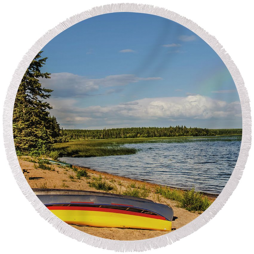 Boat Round Beach Towel featuring the photograph Ready For A Family by Viktor Birkus