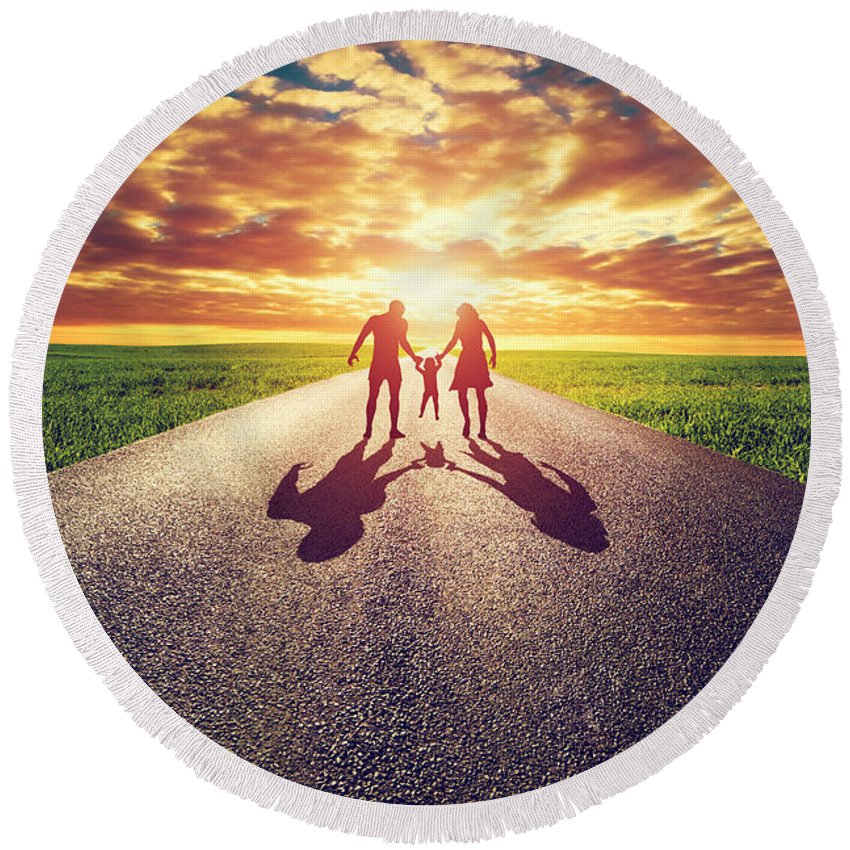 Family Round Beach Towel featuring the photograph Family Walk On Long Straight Road Towards Sunset Sun by Michal Bednarek