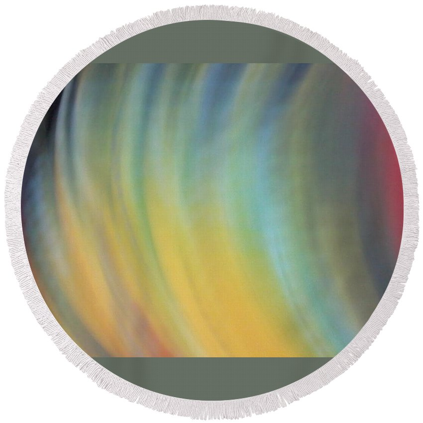 Yellow Round Beach Towel featuring the photograph Fan Of Pastel Colors by Cindy New