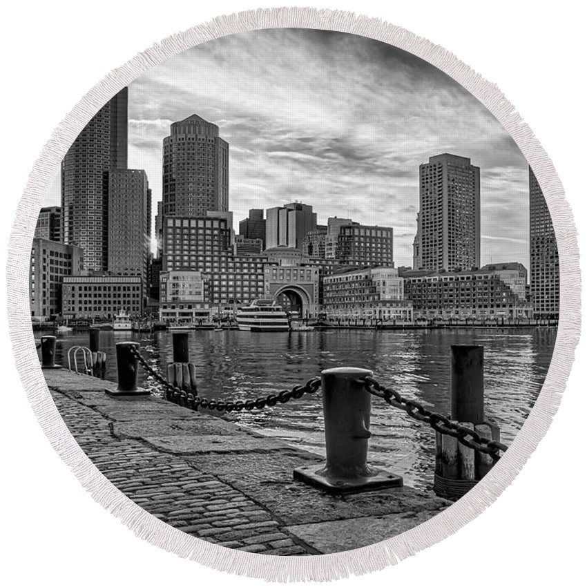 Boston Round Beach Towel featuring the photograph Fan Pier Boston Harbor Bw by Susan Candelario