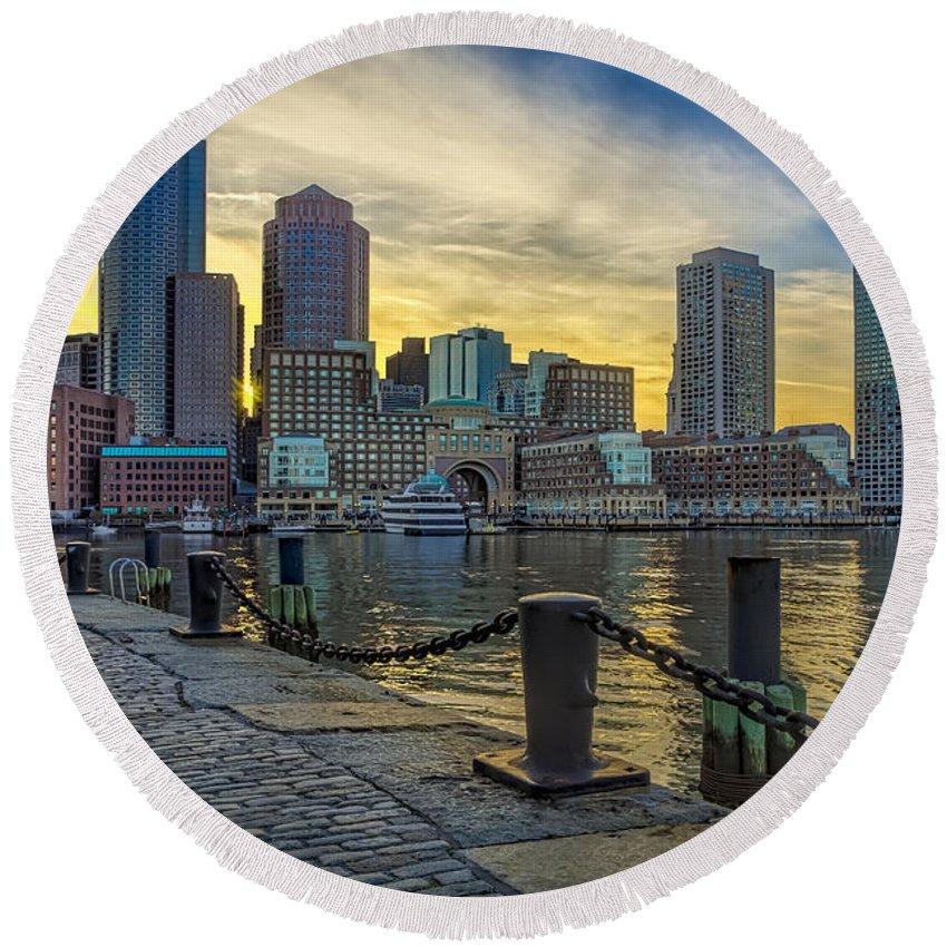 Boston Round Beach Towel featuring the photograph Fan Pier Boston Harbor by Susan Candelario