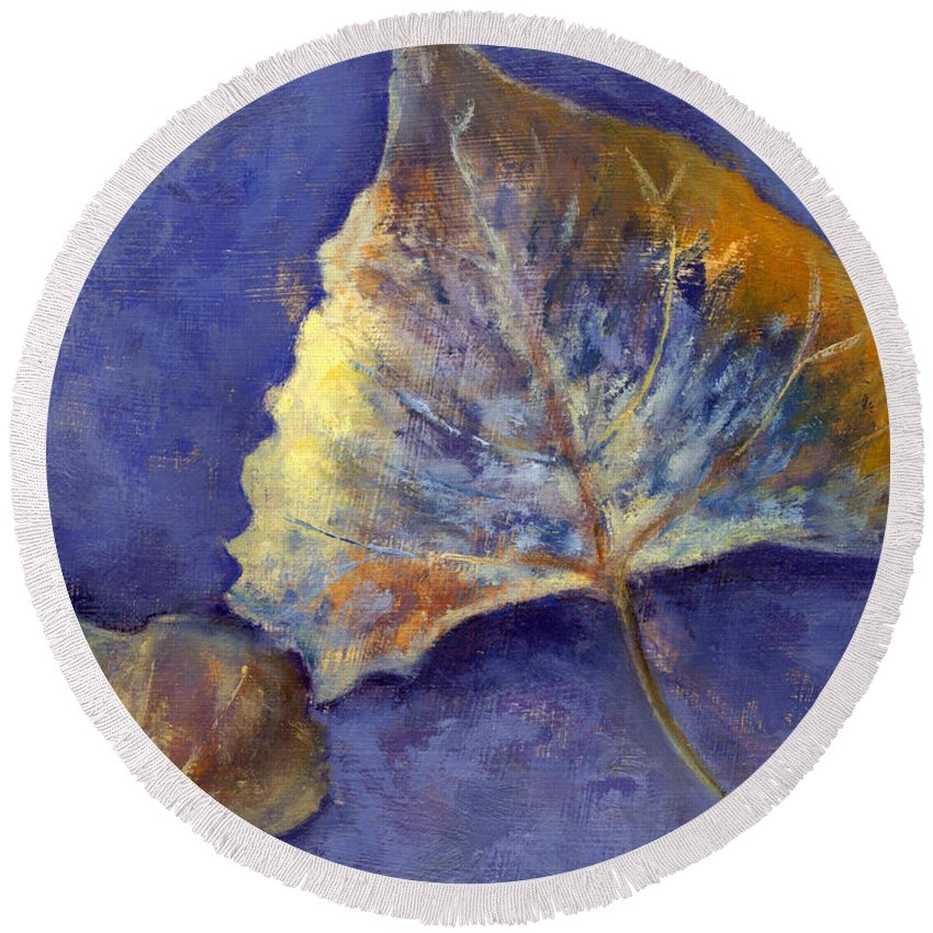Leaves Round Beach Towel featuring the painting Fanciful Leaves by Chris Neil Smith