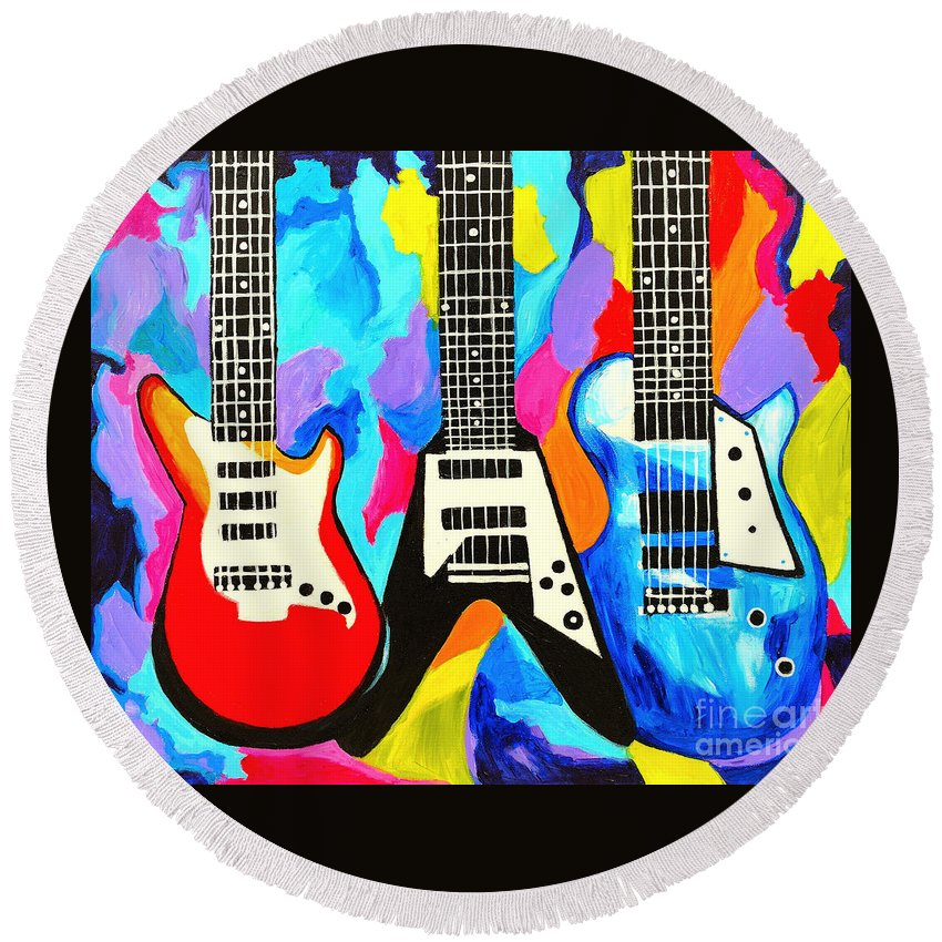 Guitars Round Beach Towel featuring the painting Fancy Guitars by Art by Danielle