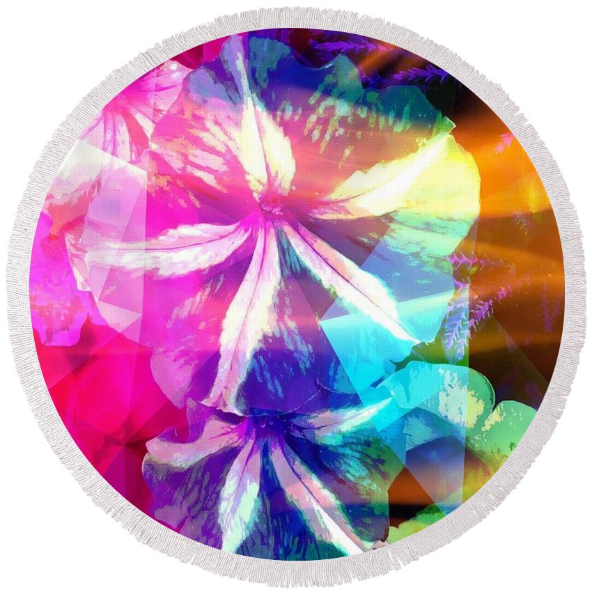 Fancy Round Beach Towel featuring the photograph Fancy Pansy Candy by Caroline Evans