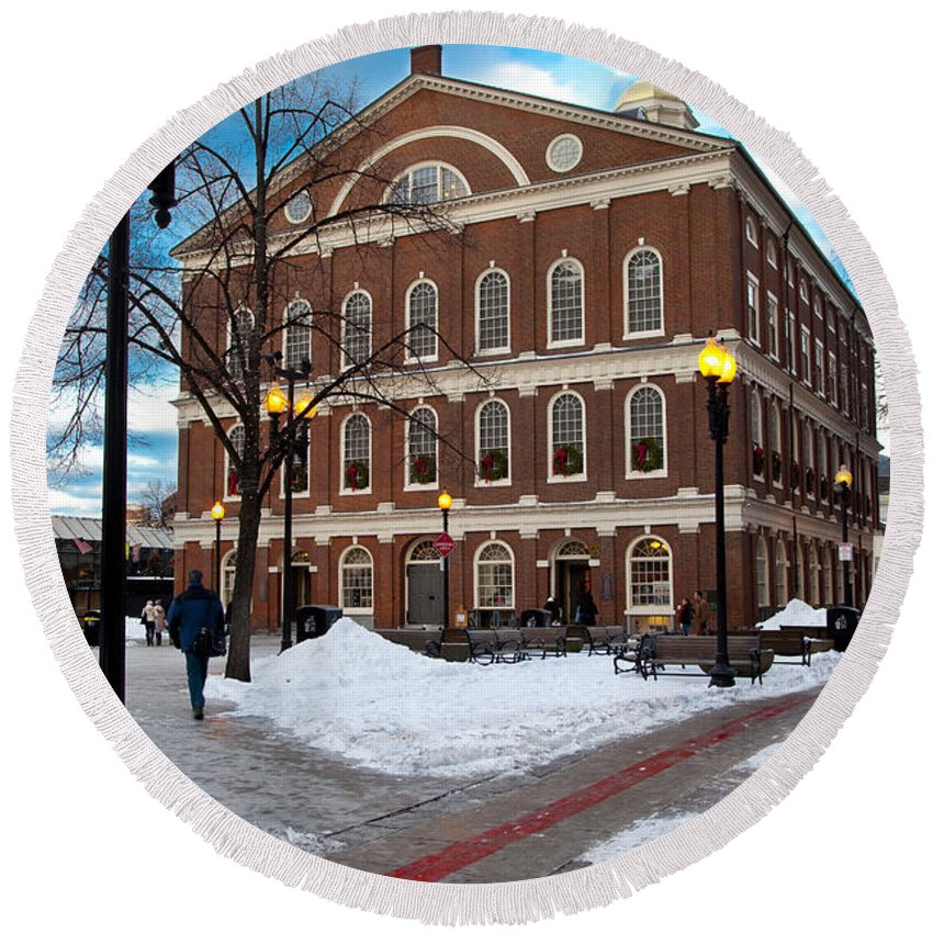 Faneuil Round Beach Towel featuring the photograph Faneuil Hall Winter by Brian Jannsen