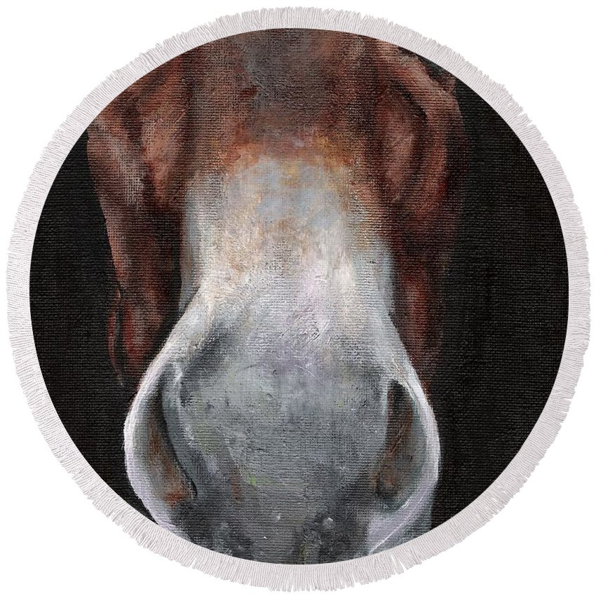 Mule Round Beach Towel featuring the painting Fannie by Frances Marino