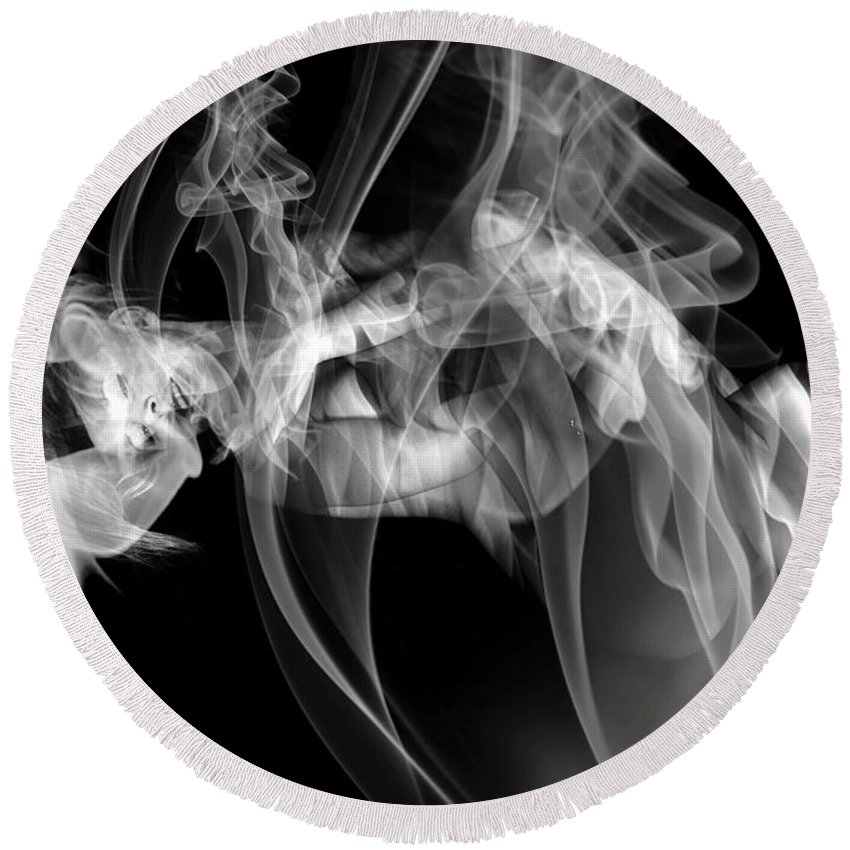 Clay Clayton Bruster Smoke Nude Art Erotic Abstract Beauty Wall Sexy Sensual Round Beach Towel featuring the photograph Fantasies In Smoke Iv by Clayton Bruster