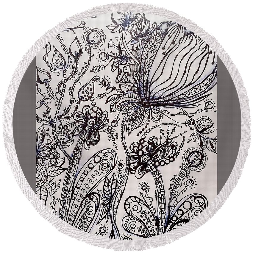 Black Pen Round Beach Towel featuring the drawing Fantastic Garden by Jan Pellizzer