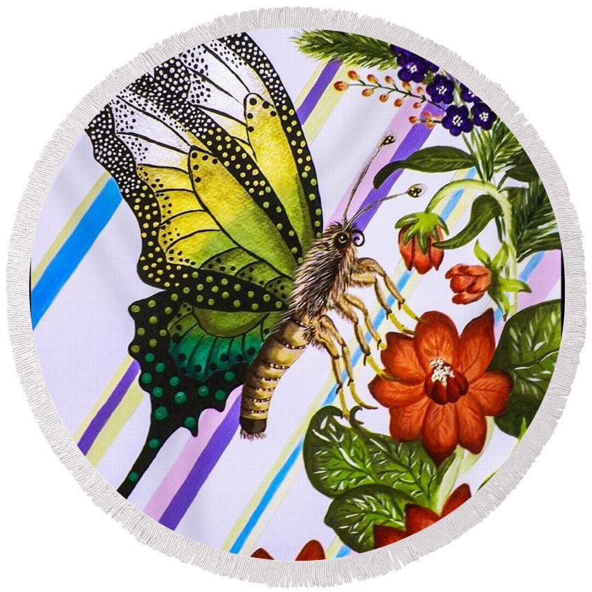 Flowers. Butterfly. Stripes. Nature. Wildlife. Floral Spray. Design. Fine Art. Leaves. Round Beach Towel featuring the painting Fantasy Flight Pt.1 by Dawn Siegler