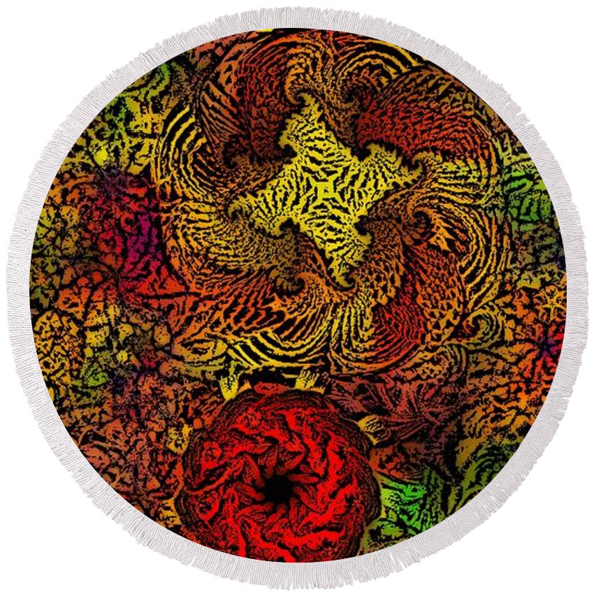 Abstract Digital Painting Round Beach Towel featuring the digital art Fantasy Flowers Woodcut by David Lane