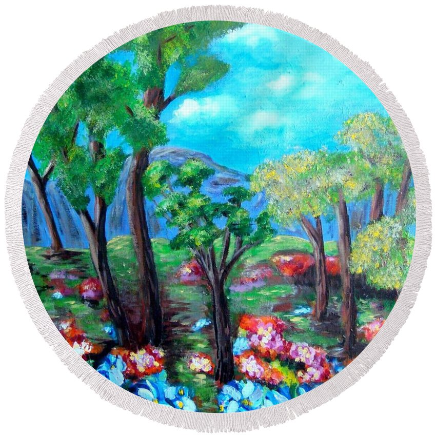 Fantasy Round Beach Towel featuring the painting Fantasy Forest by Laurie Morgan