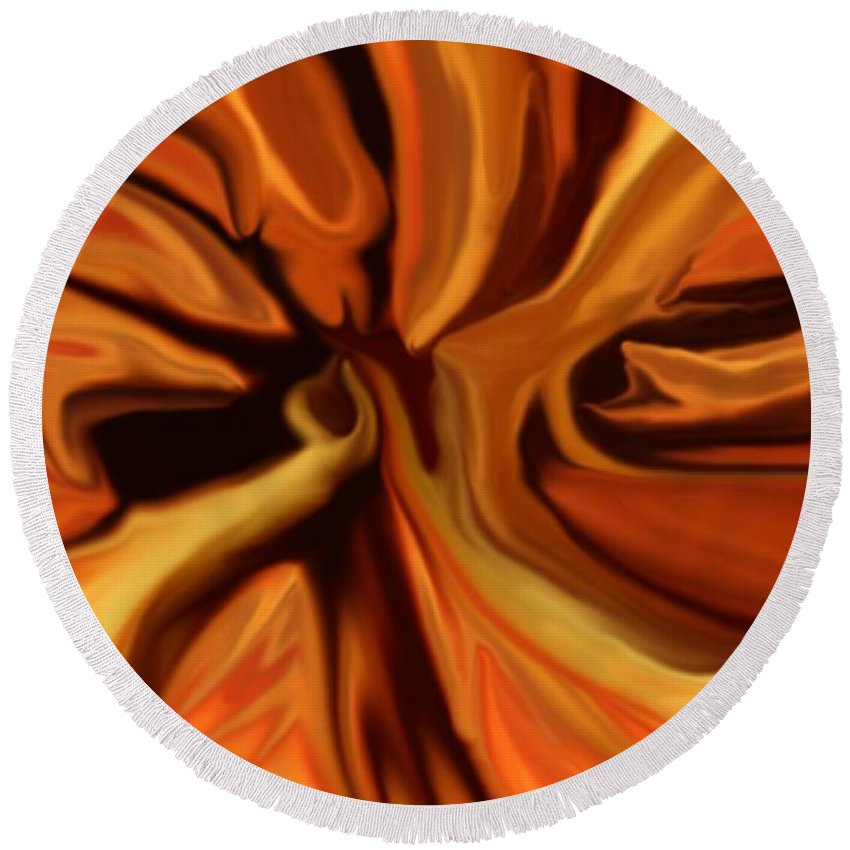 Abstract Round Beach Towel featuring the digital art Fantasy In Orange by David Lane