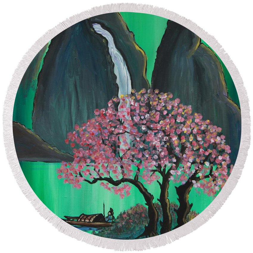 Japan Round Beach Towel featuring the painting Fantasy Japan by Jacqueline Athmann