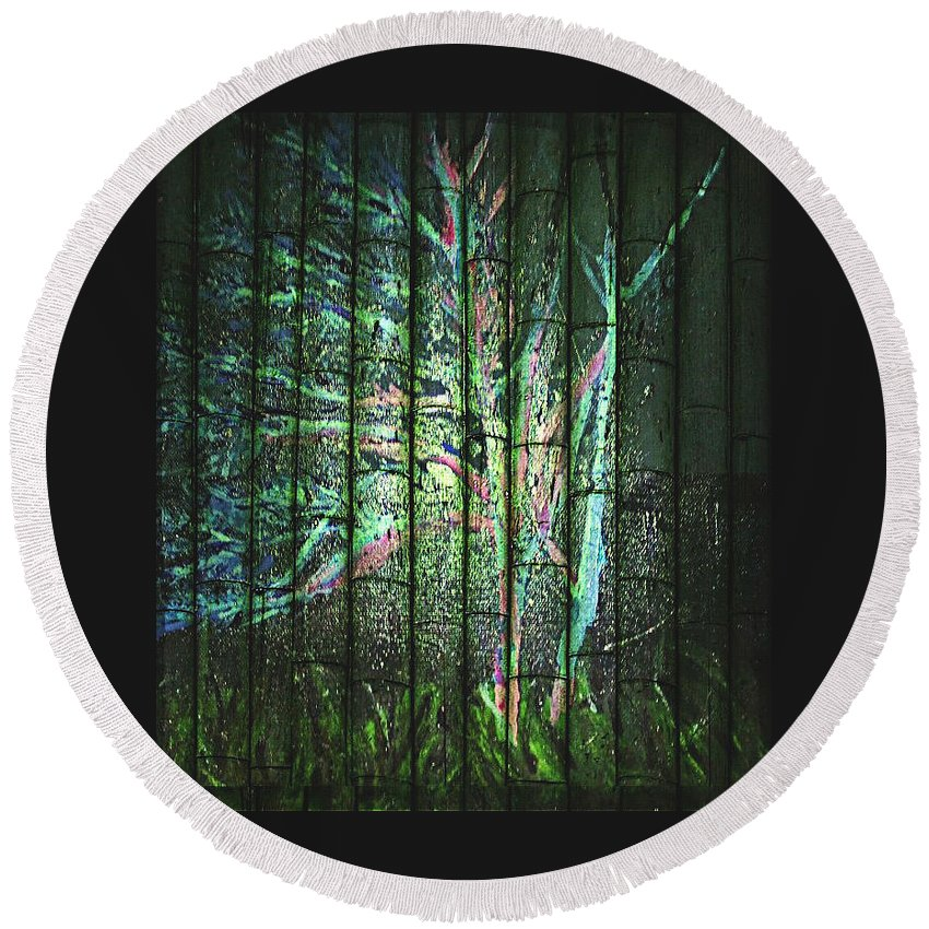 Night Time Treescape Round Beach Towel featuring the painting Fantasy Tree On Bamboo by Pamela Smale Williams