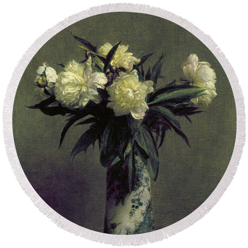 1872 Round Beach Towel featuring the photograph Fantin-latour: Peonies, 1872 by Granger