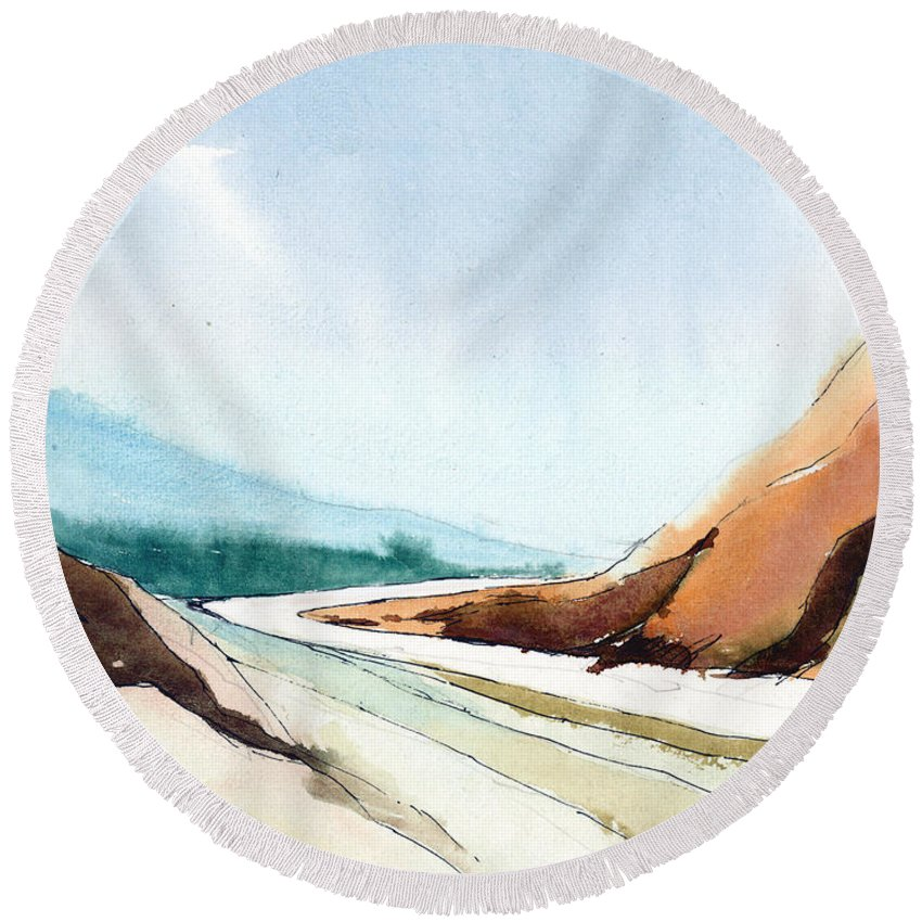 Landscape Round Beach Towel featuring the painting Far Away by Anil Nene