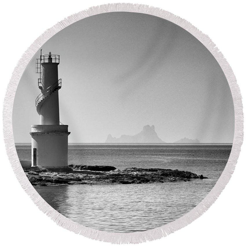 Balearics Round Beach Towel featuring the photograph Far De La Savina Lighthouse, Formentera by John Edwards
