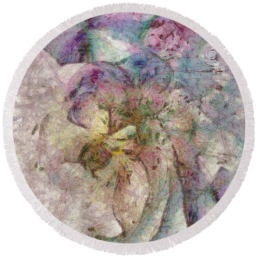 Ndr099 Round Beach Towel featuring the painting Faradmeter Concrete Id 16098-055822-65650 by S Lurk