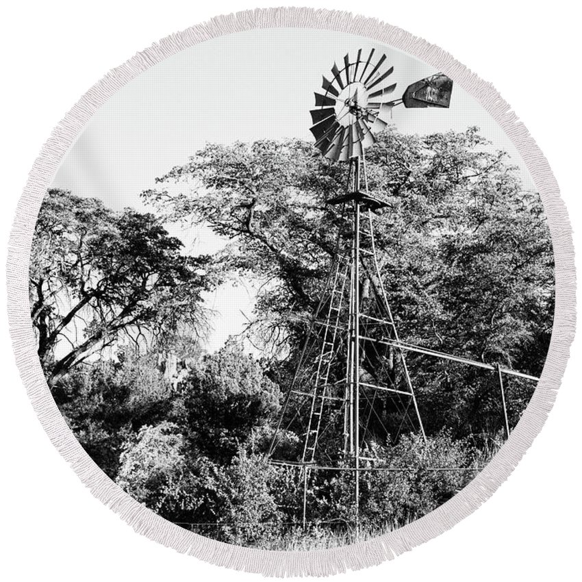B&w Round Beach Towel featuring the photograph Faraway Windmill by Jack Sassard