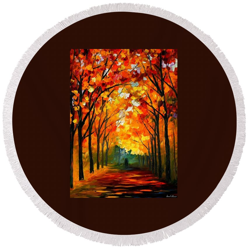 Afremov Round Beach Towel featuring the painting Farewell To Autumn by Leonid Afremov
