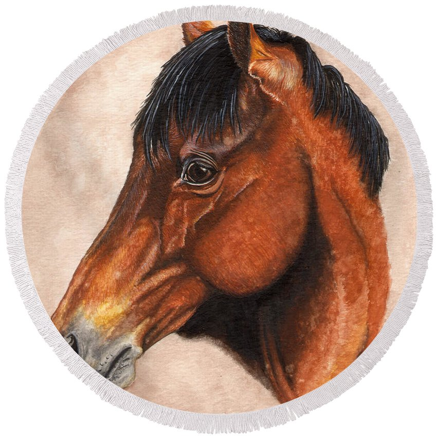 Horse Round Beach Towel featuring the painting Farley by Kristen Wesch