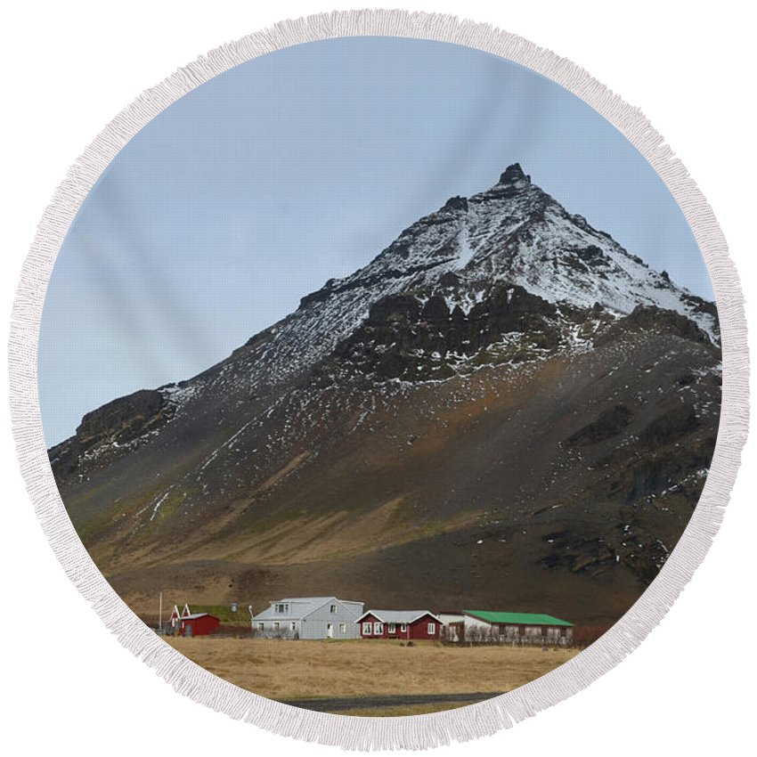 Mt Stapafell Round Beach Towel featuring the photograph Farm At The Base Of Mt Stapafell by DejaVu Designs