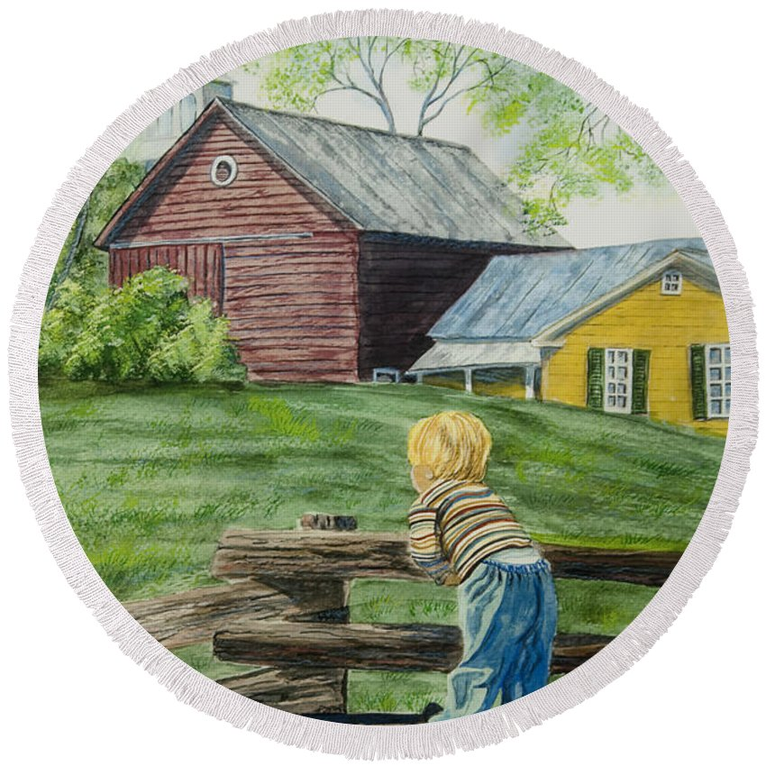 Country Kids Art Round Beach Towel featuring the painting Farm Boy by Charlotte Blanchard