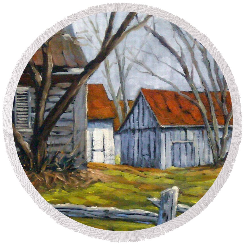 Farm Round Beach Towel featuring the painting Farm In Berthierville by Richard T Pranke