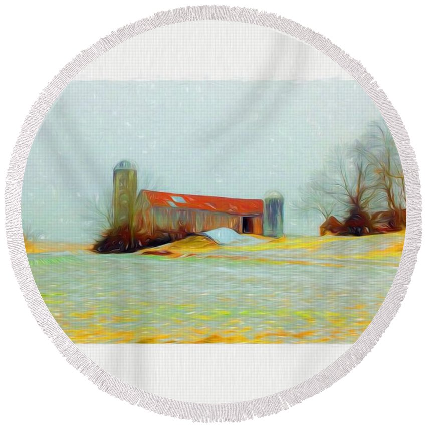 Farm Round Beach Towel featuring the mixed media Farm In The Country by Debra Lynch