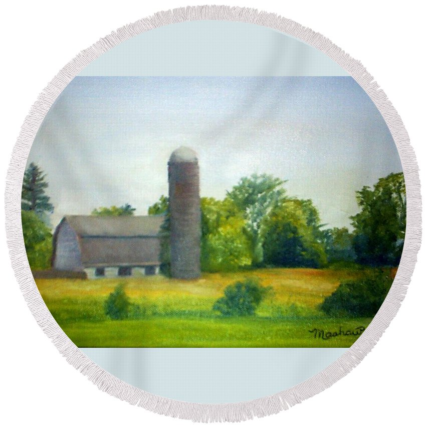 Farm Round Beach Towel featuring the painting Farm In The Pine Barrens by Sheila Mashaw