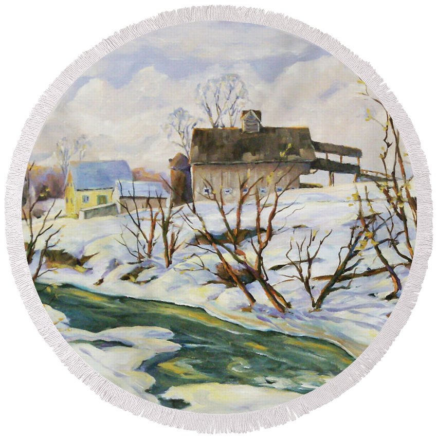 Farm Round Beach Towel featuring the painting Farm In Winter by Richard T Pranke