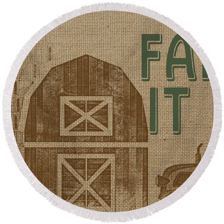 Digital Round Beach Towel featuring the painting Farm Life-jp3235 by Jean Plout
