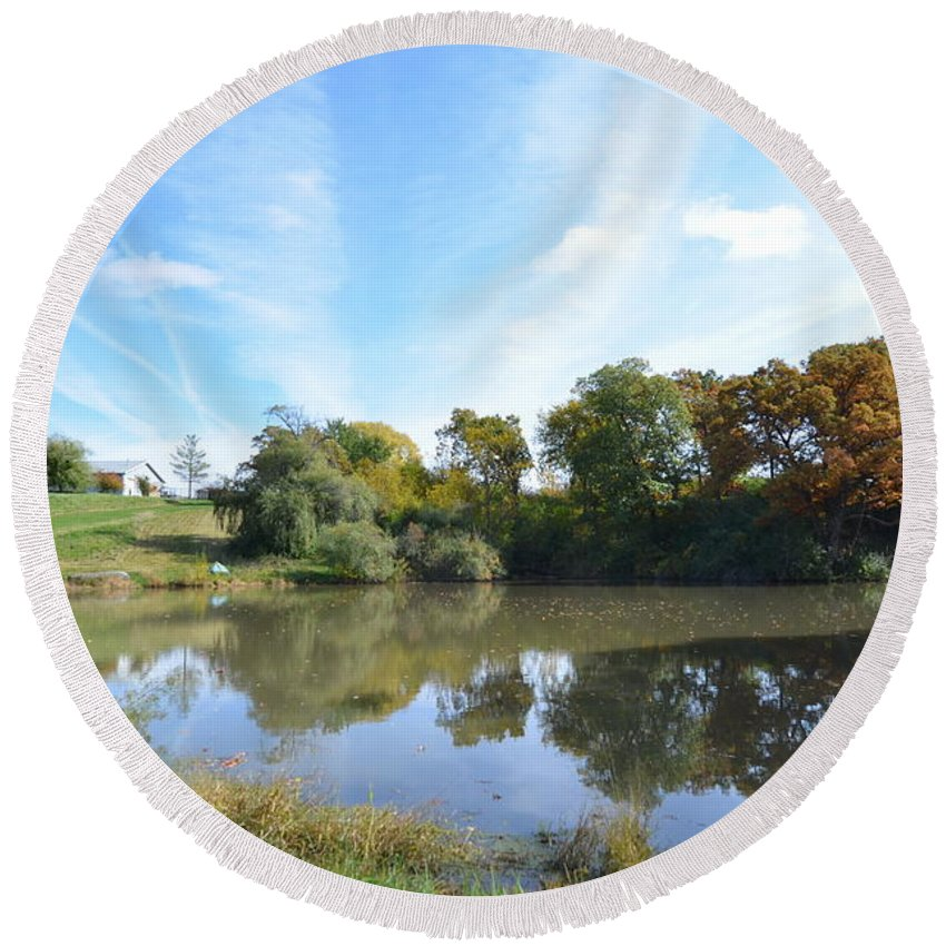 Farm Pond Round Beach Towel featuring the photograph Farm Living by Tammy Mutka