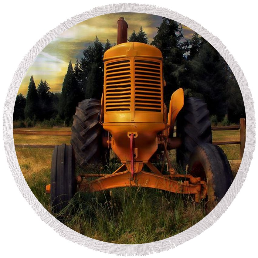 Tractor Round Beach Towel featuring the photograph Farm On by Aaron Berg