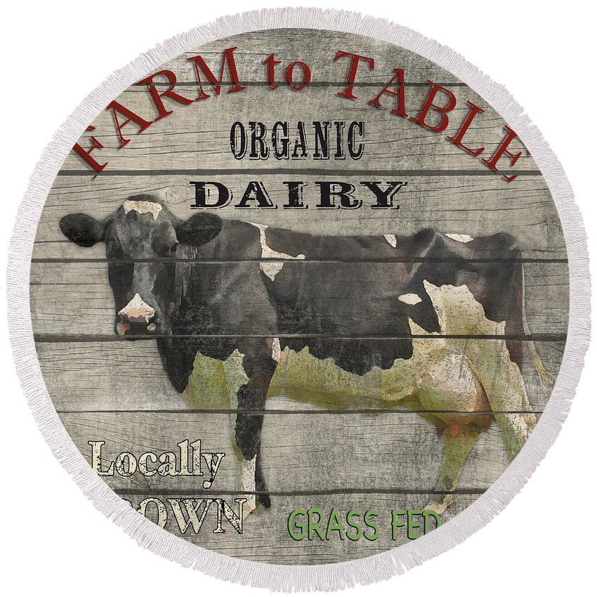 Wood Round Beach Towel featuring the digital art Farm To Table Dairy-jp2629 by Jean Plout