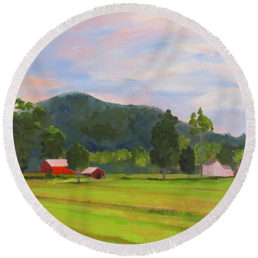 Farm Round Beach Towel featuring the painting Farm, Washington County by Terri Messinger