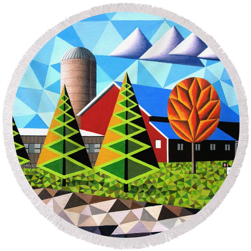 Farm Round Beach Towel featuring the painting Farm With Three Pines And Cow by Bruce Bodden