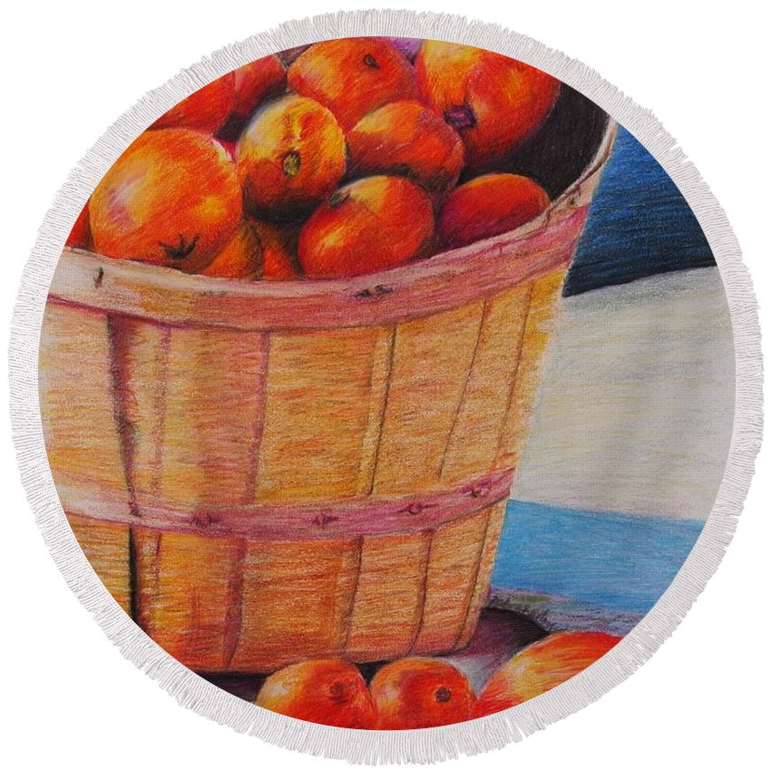 Produce In A Basket Round Beach Towel featuring the drawing Farmers Market Produce by Nadine Rippelmeyer