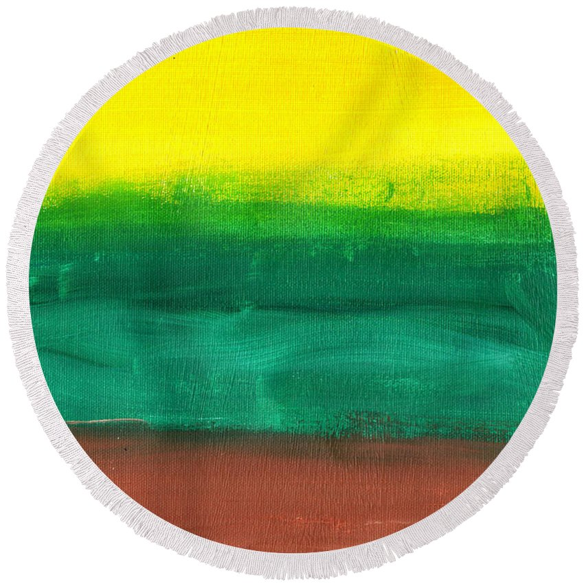Art & Collectibles Round Beach Towel featuring the painting Farmers Peace by Sindy Original
