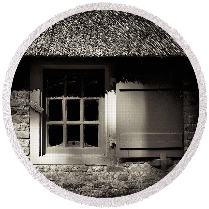 Dutch Round Beach Towel featuring the photograph Farmhouse Window by Dave Bowman